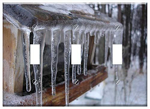 Switch Plate Triple Toggle - Icicles Frozen Cold Snow Winter Icy Bird Feeder