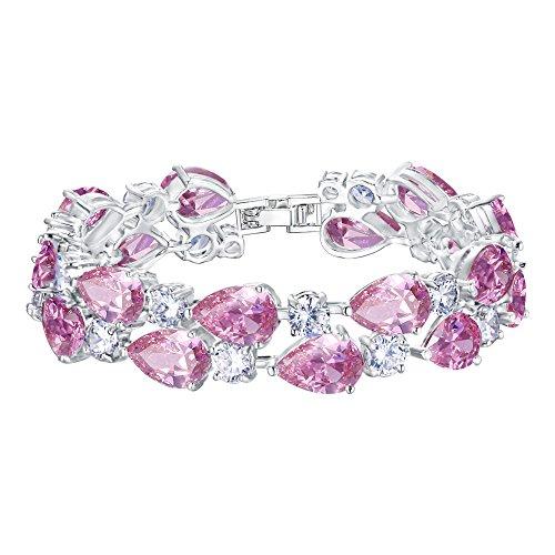 Pink Stone Bracelet - EVER FAITH Women's Prong Cubic Zirconia Vintage Style Dual Layer Tear Drop Bracelet Pink Silver-Tone
