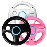 Generic 3 x pcs Black White Pink Steering Mario Kart Racing Wheel for Nintendo Wii Remote GameWII