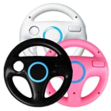Generic 3 x pcs Black White Pink Steering Mario Kart Racing Wheel for Nintendo Wii Remote GameWII