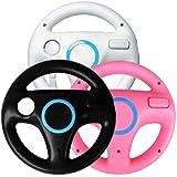 Generic 3 x pcs Black White Pink Steering Mario Kart Racing Wheel for Nintendo Wii Remote Game