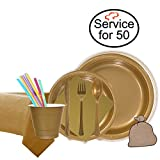 """TigerChef 829-50PACK Combo Party Pack For 50, Includes 9"""" And 7"""" Plastic Plates, 9 Oz. Plastic Cups, Disposable Cutlery, Napkins, Straws, Plastic Tablecover 54"""" X 108"""" and Garbage Bag, Gold (Pack Of 429)"""