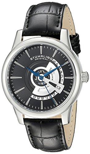 Stuhrling Original Men's 787.02 Symphony Quartz Date Leather Strap Black Watch