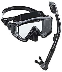 Phantom Aquatics Panoramic Scuba Mask Snorkel Set, All Black