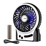 Battery Fan, EasyAcc Rechargeable Fan Portable Handheld Personal Mini USB fan with LG 2600mA Battery,3 Speeds Internal and Side Light,Cooling for Traveling,Fishing,Camping - Black
