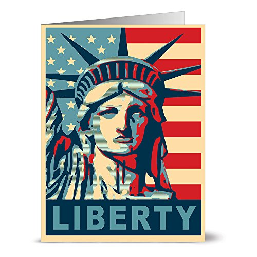 24 Patriotic Note Cards - Lady Liberty - Blank Cards - Red Envelopes Included