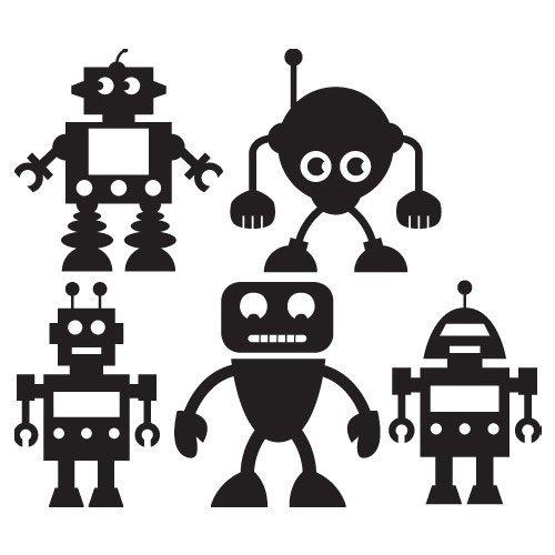 paquetes de arte de pared de vinilo de robots - Robot pared arte etiqueta engomada etiqueta - 30 cm de altura * Auto W