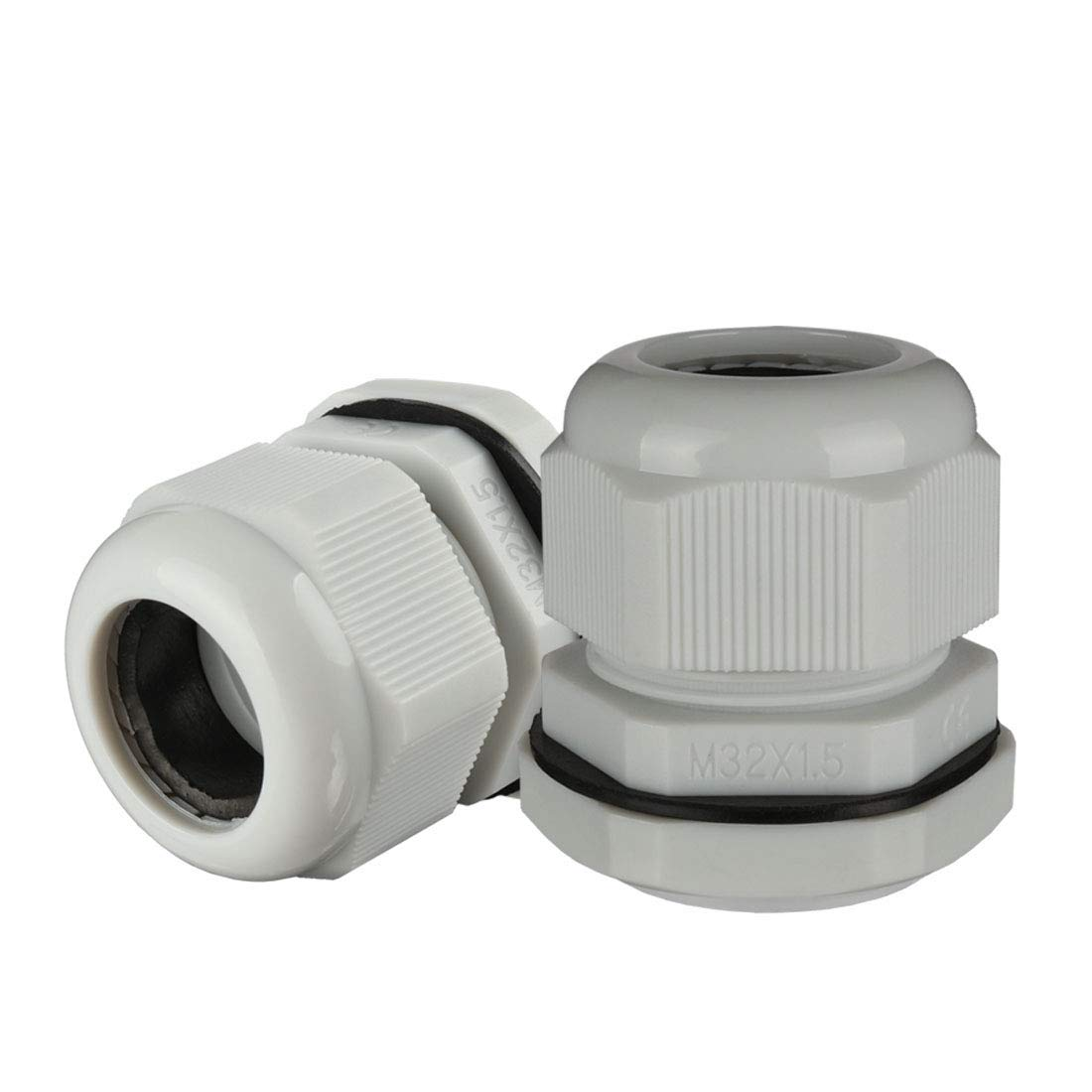 uxcell M22 Cable Gland Waterproof Plastic Joint Adjustable Locknut White for 10mm-13mm Dia Cable Wire 5 Pcs