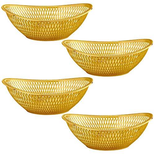Impressive Creations Reusable Decorative Serving Basket - Plastic Fruit Basket - Bread Basket with Elegant Gold Finish - Functional and Modern Weaved Design - 4pk