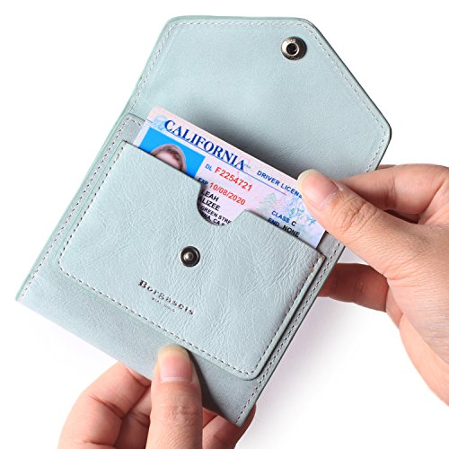 (Borgasets Women's RFID Blocking Small Compact Bifold Leather Pocket Wallet Ladies Mini Purse (Ice Blue))