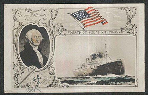 - George Washington portrait & Bremen steamer 4th of July Festival postcard 1909