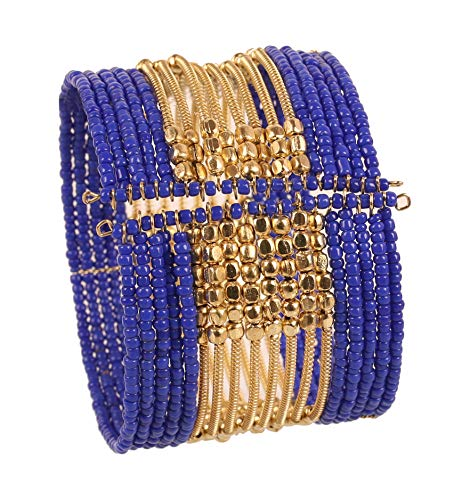 Touchstone New Indian Bollywood Beautiful Beaten Metal Navy Blue Color Glass Beads Wrist Enhancer Openable Cuff Bracelet in Gold Tone for Women.
