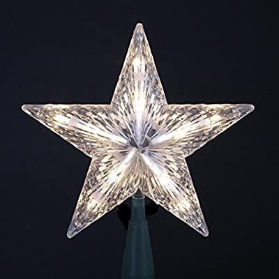 "Kurt Adler 7"" Classic 5-Point Star Christmas Tree Topper - Clear Lights"