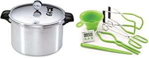 Presto 01755 16-Quart Aluminum canner Pressure Cooker, One Size, Silver & 7 Function Canning Kit