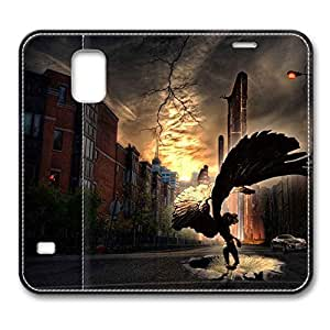 Brain114 Fashion Style Case Design Flip Folio PU Leather Cover Standup Cover Case with Angel 7 Pattern Skin for Samsung Galaxy S5 I9600