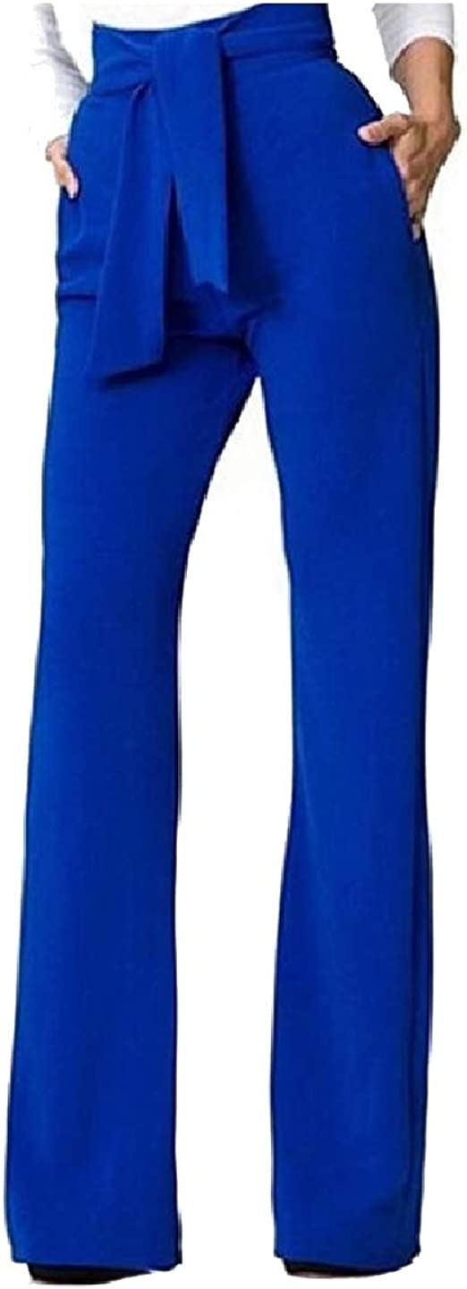 Tootess Womens Solid Belted Design Highwaist Fashional Wide Leg Pants