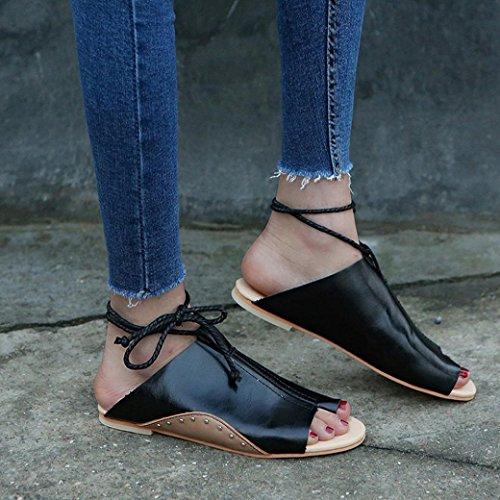 DEESEE(TM) New Arrivals Women Girls Flat-bottomed Roman Sandals Open Ankle Flat Straps Platform Wedges Shoes Black
