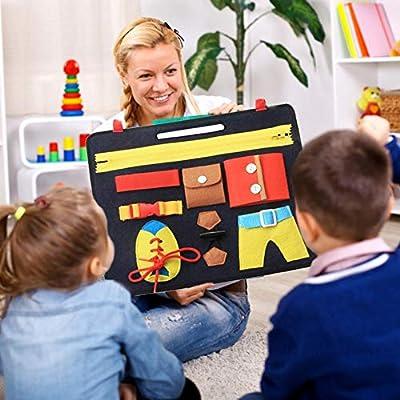 Fr/ühes Lernen Kn/öpfen Baby Busy Board Montessori Spielzeug Lernbuch Mit Rei/ßverschluss Grundkenntnisse Fr/ühes Lernen Grundkenntnisse Lernbuch Montessori Spielzeug Schnallen F/ür Kinder