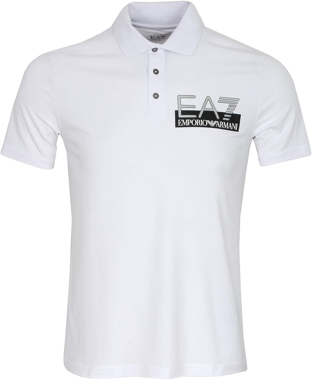Armani EA7 Tour Logo - Polo de Manga Corta, Color Blanco Blanco ...