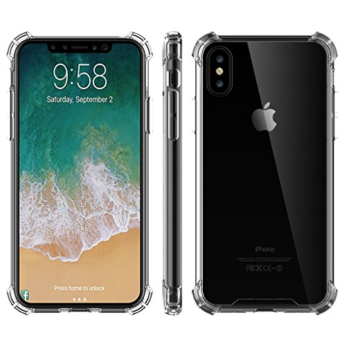 West Basics Case for Apple iPhone Xs and iPhone X, Shock-Absorption Bumper Cover, Anti-Scratch Clear Back, HD Clear