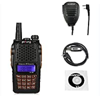 Baofeng Pofung UV-6R Dual-Band Two-Way Radio Transceiver 136-174/400-520MHz High Power 5W/1W, 65-108MHz FM Two-Way Radio + 1 Programming Cable + 1 Remote Speaker