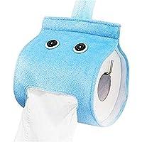 Creative Roll Paper Holder Cover Cute Bathroom Hanging Toilet Paper Holder Tissue Box Holder (Blue)