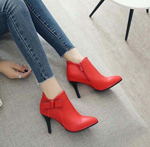 cm zapatos bomba vestido Eu noche Mujeres cortas Comfort la punta Rojo fiesta 34 boda y Bootie estrecha Stiletot color 43 tamaño Botas ocasional puro bowknot de de 8 xqxRwEI