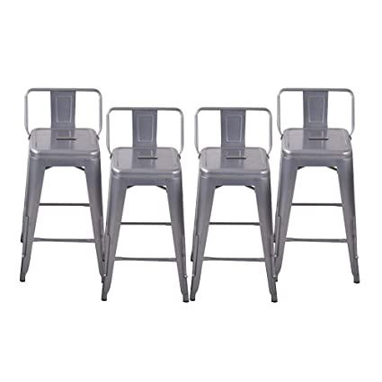 Etonnant Pack Of 4 Low Back Gunmetal Dining Chairs Indoor Outdoor Stackable Bistro  Cafe Side Chairs