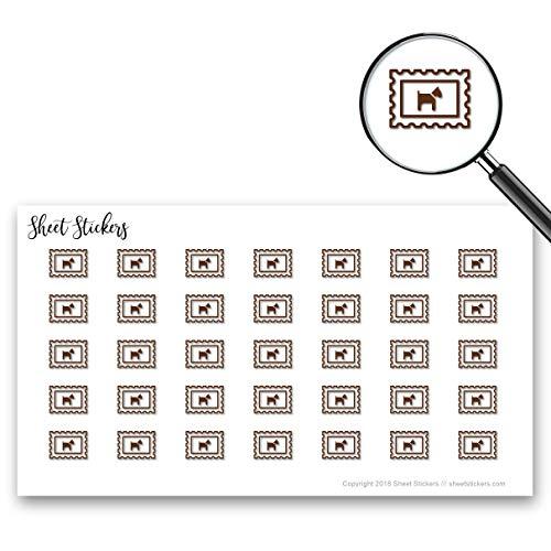 Postage Dog Postage-Dog Stamp Postage, Sticker Sheet 88 Bullet Stickers for Journal Planner Scrapbooks Bujo and Crafts, Item 426767 - Dog Stamp Postage