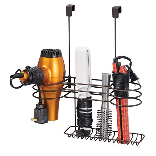 (mDesign Metal Over Door Bathroom Hair Care & Styling Tool Organizer Storage Basket for Hair Dryer, Flat Irons, Curling Wands, Hair Straighteners - Hang Inside or Outside Cabinet Doors - Bronze)