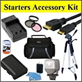 """Starters Accessory Kit For Sony HDR-PJ710V HDR-PJ760V HDR-CX760V Handycam Camcorder - Includes Filter Kit + Replacement NP-FV70 Battery + Battery Charger + Video Light + Deluxe Case + 50"""" Tripod + Mini HDMI Cable & Much More!!"""