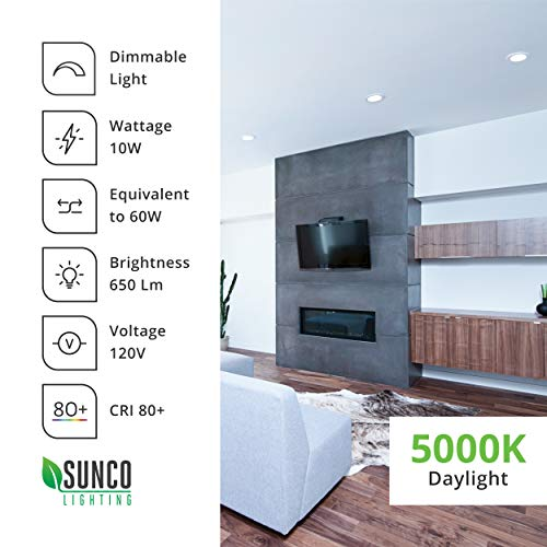 Sunco Lighting 12 Pack 4 Inch Slim LED Downlight with Junction Box,10W=60W, 650 LM, Dimmable, 5000K Daylight, Recessed Jbox Fixture, Simple Retrofit Installation - ETL & Energy Star by Sunco Lighting (Image #8)