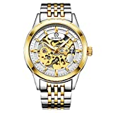 Luxury Business Skeleton Automatic Mechanical Mens Watch Stainless Steel Genuine Leather Strap (Silver Gold White)