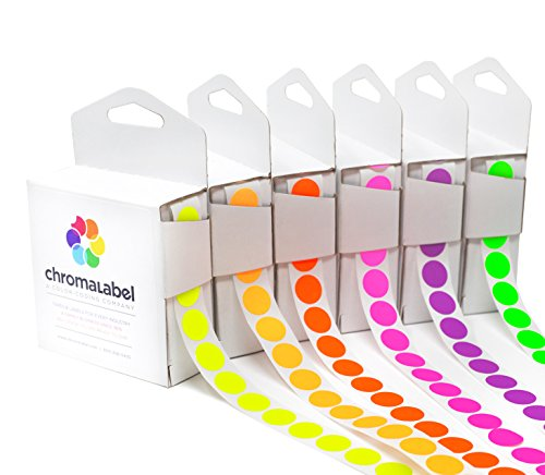 ChromaLabel Fluorescent Color-Code Dot Label Kit | 6 Assorted Colors | 1000/Dispenser Box (1/2 inch)