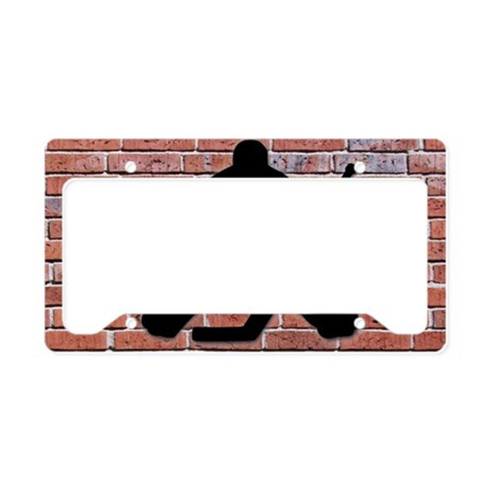 CafePress - Portero de Hockey de pared de ladrillo - marco de aluminio y placa de licencia, etiqueta de licencia Soporte: Amazon.es: Coche y moto