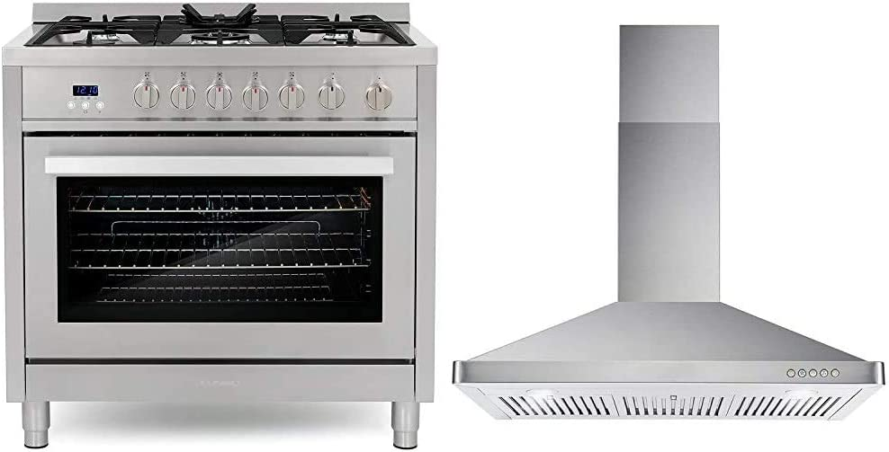 Cosmo COS-965AGFC 36 in. Gas Range with 5 Burner Cooktop, 3.8 cu. ft. Capacity Rapid Convection Oven & 63190 36 in. Wall Mount Range Hood with Ductless Convertible Duct