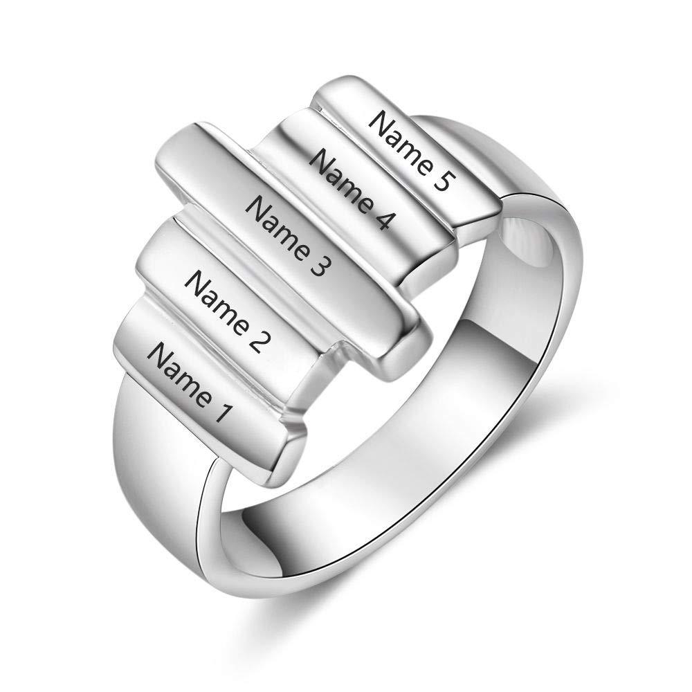 Lam Hub - Anillos de Amistad para Hombres y Mujeres, 5 Nombres, Personalizables, con Texto en inglés BFF Friendship Rings: Amazon.es: Joyería