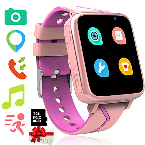 1 Gb Mp3 Watch - Kids Smart Watch with Music Player - GPS Tracker Watch with MP3 Player Bluetooth Smartwatch with Activity Fitness Tracker Pedometer Camera FM Alarm Clock Flashlight for Girls Boys (01 Pink)