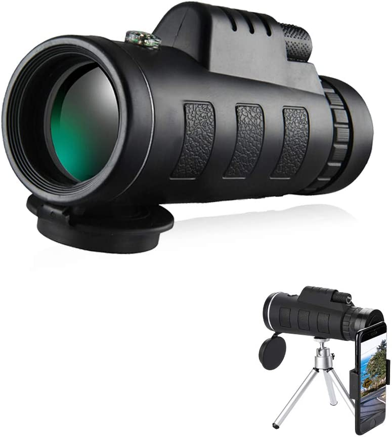 40X60 High Power HD Compact Monocular with Smartphone Holder /& Tripod Waterproof Monocular Concert Sports Game Monocular Telescope Wildlife Made by FMC BAK4 Prism for Bird Watching Traveling