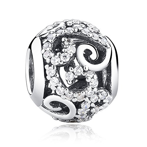 WOSTU Silver Charms 925 Sterling Silver Rhinestones Openwork Spacer Charms Beads for Bracelets