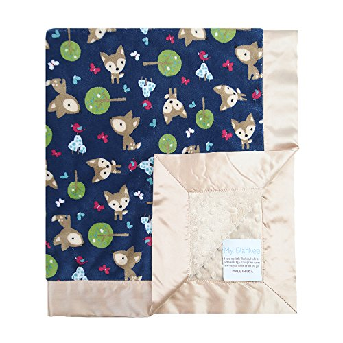 My Blankee Deer Minky Navy Blanket with Dot, Tan