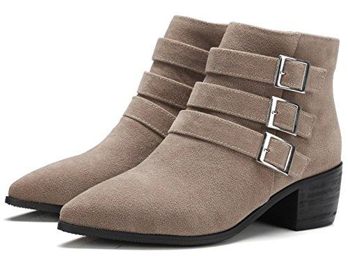 Idifu Mujeres Casual Buckles Side Zip Up Botas Mid Block Heels Pointy Motor Tobillo Botines Albaricoque