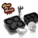 Diamonds and Skulls Ice Mold Kit with Japanese Style Jigger by LVKH (3 Piece Set)