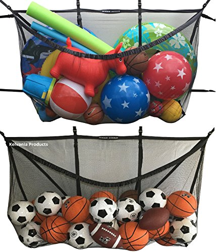 Giant Pool Storage Bag - attaches almost anywhere - for Fence/Pool/Garage/Deck/Gym, a versatile organizer pouch for floats, sports balls, vacuum hoses, inflatable rafts, toys, cushions, accessories