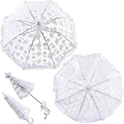 2Pcs White Lace Bridal Parasol Wedding Bride Flower Girls Embroidery Umbrellas