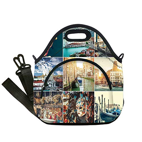 Insulated Lunch Bag,Neoprene Lunch Tote Bags,Italian,Designed Masks for Carnival of Venice Baroque Style Gondolas River Italy Landmark,Multicolor,for Adults and children (Mask Italian Carnival)