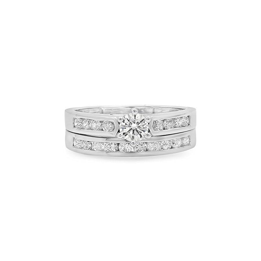 Dazzlingrock Collection 1.00 Carat (ctw) 18k Gold Round Diamond Ladies Bridal Engagement Ring Set With Matching Band 1 CT