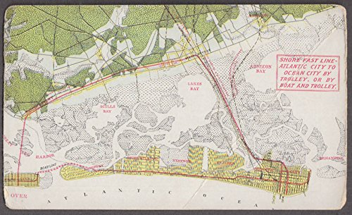 - Atlantic City & Shore Railroad Fast Line route map card ca 1915