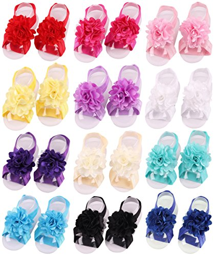 Toptim Baby Girl's Barefoot Sandals Solid Flower for Toddlers ()