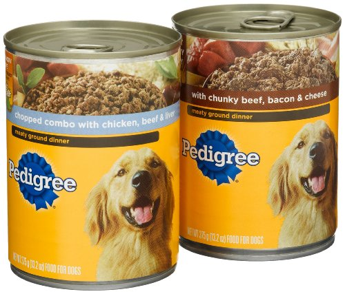 Pedigree Meaty Ground Dinner Variety Pack (Chopped Combo, with Chunky Beef, Bacon and Cheese) Food for Dogs, 13.2-Ounce Cans (Pack of 24), My Pet Supplies